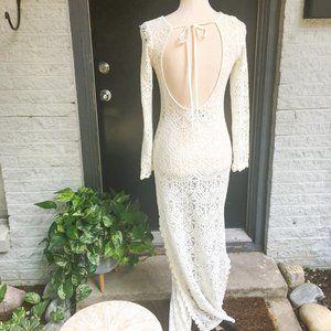 H&M Lace Maxi Dress Open Back Sheer Off White Sz 2